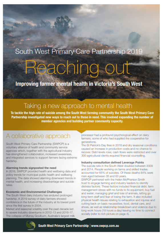 Reaching Out - The Farmer Mental Health and Suicide Prevention Case Study